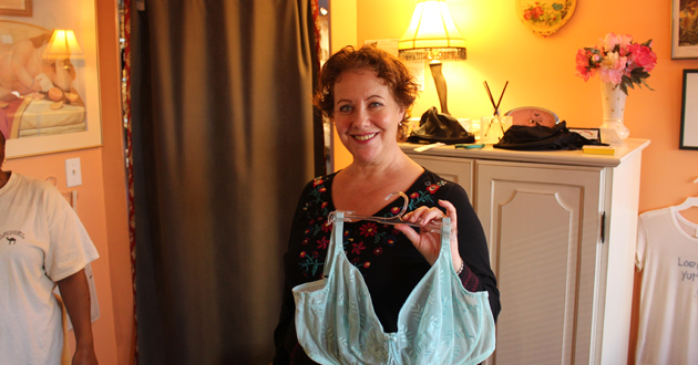 Lori holds L-cup bra