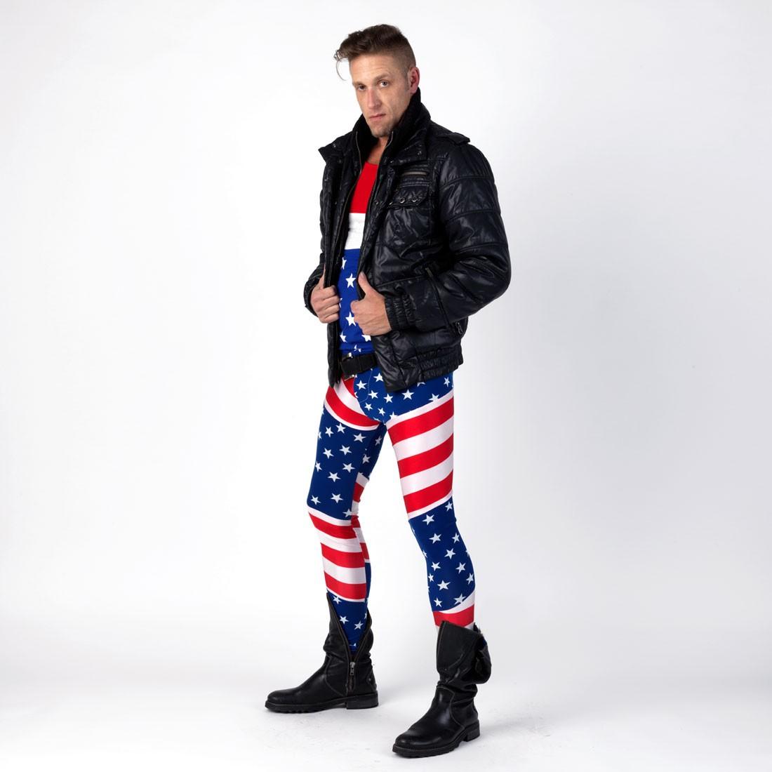 "Meggings Man's ""American Flag"" meggings"