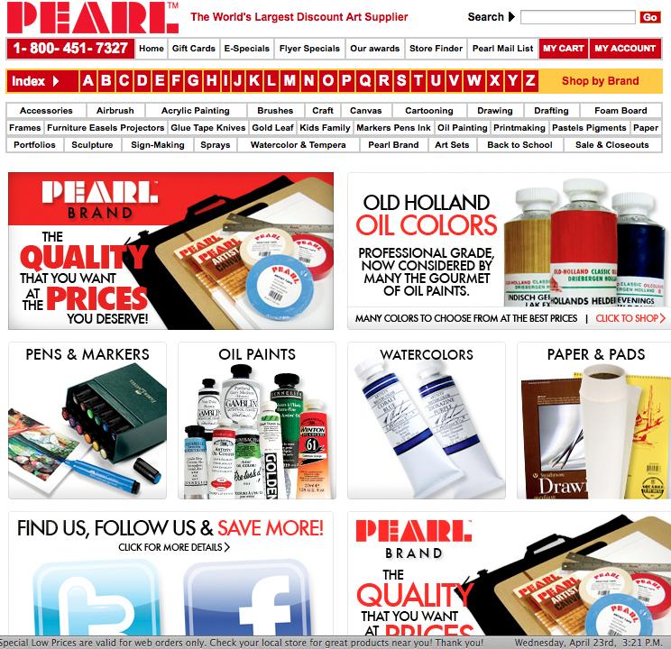 Pearl Paint's website