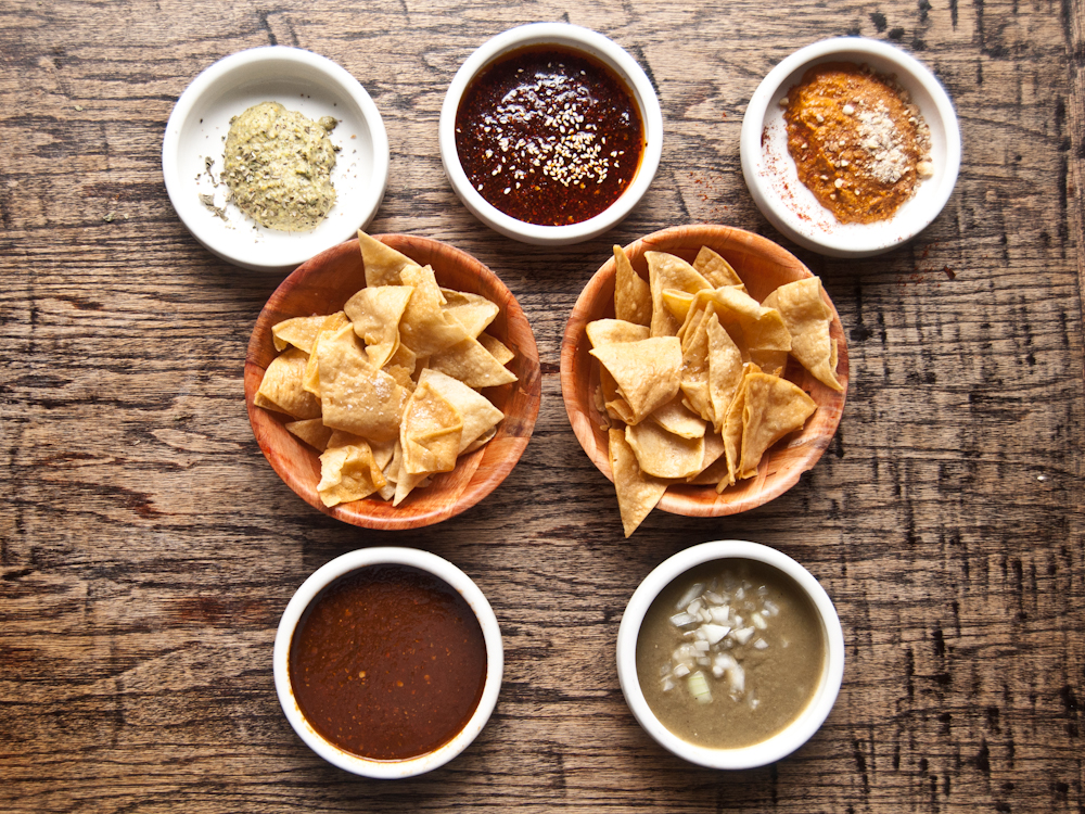 """5 of Julio's salsa creations. He truly is """"The Salsa Master!"""""""