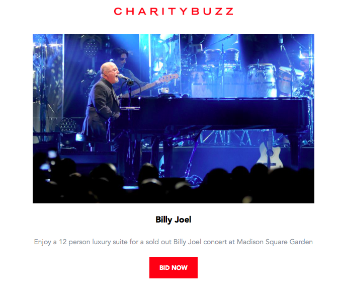 Charitybuzz newsletter