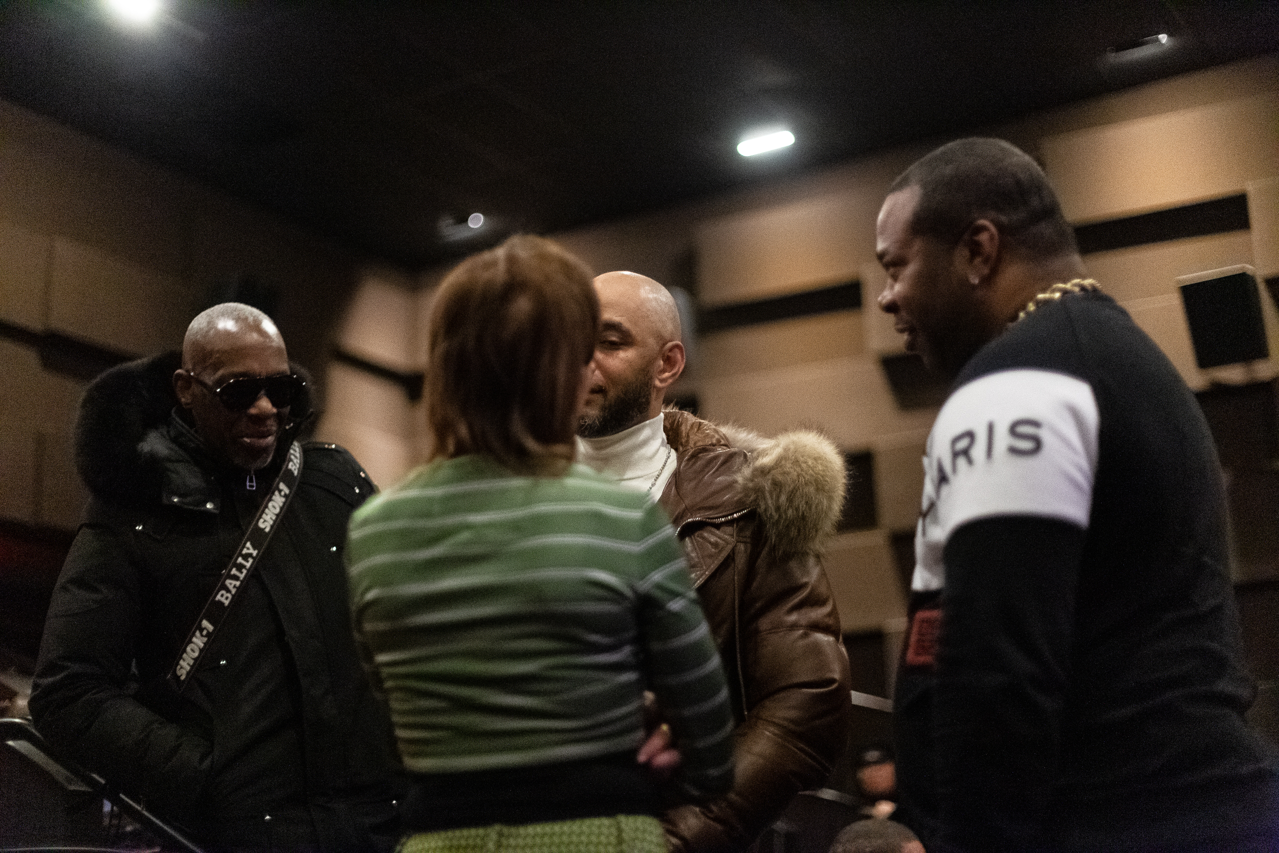 Swizz Beatz and Busta Rhymes having a conversation at Future's WIZRD documentary screening